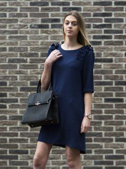 Blauw kleedje met fronsjes