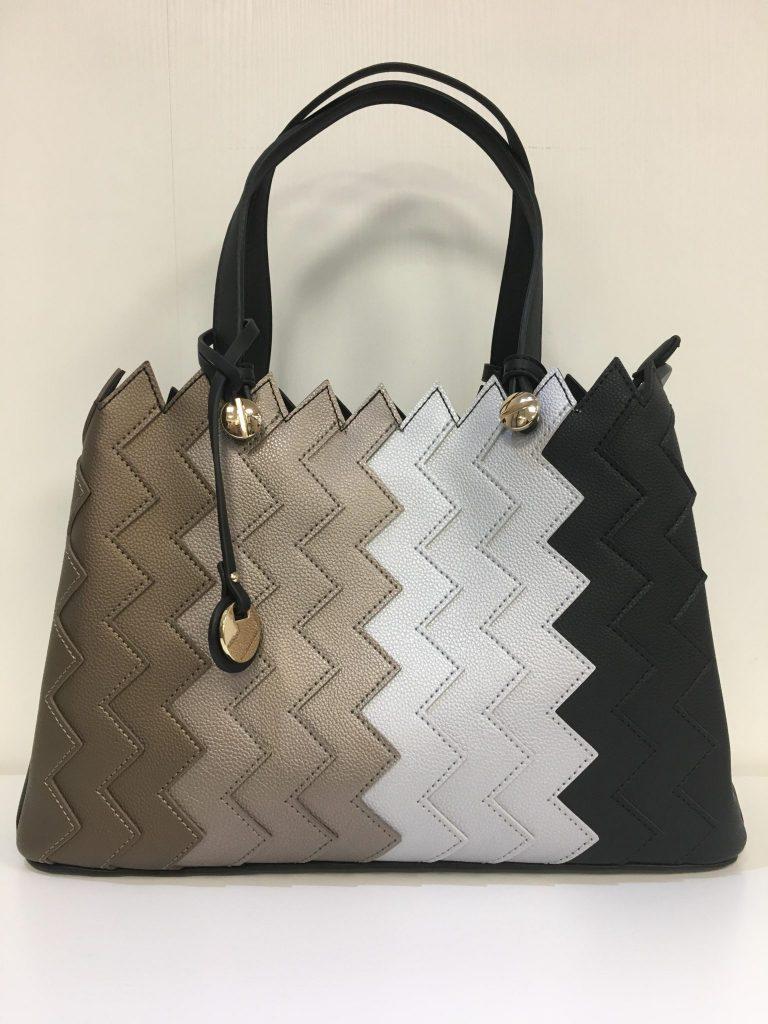 Handtas zigzag beige/zwart