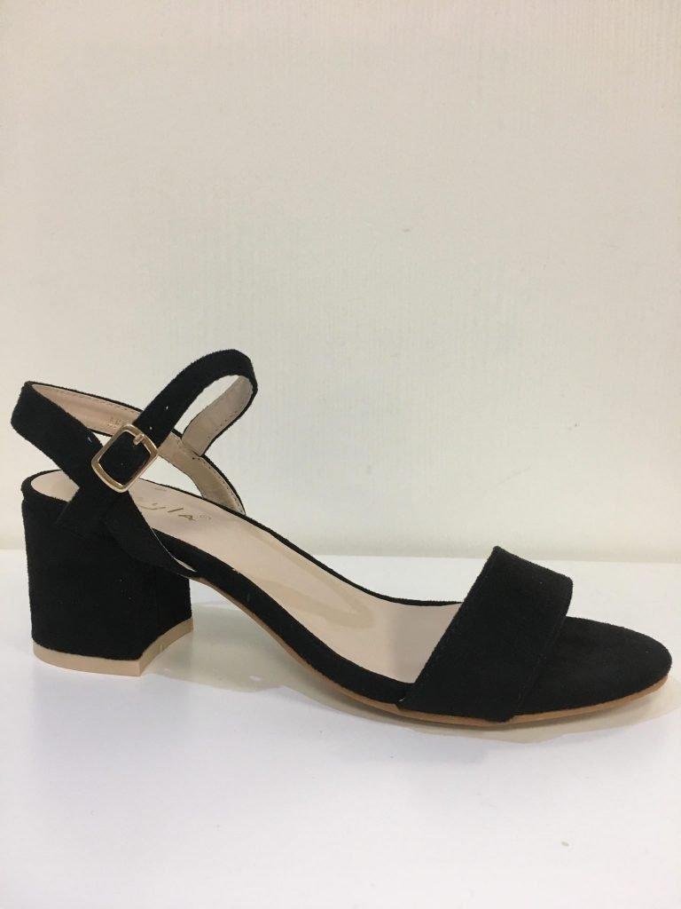 Zwarte open schoen laag