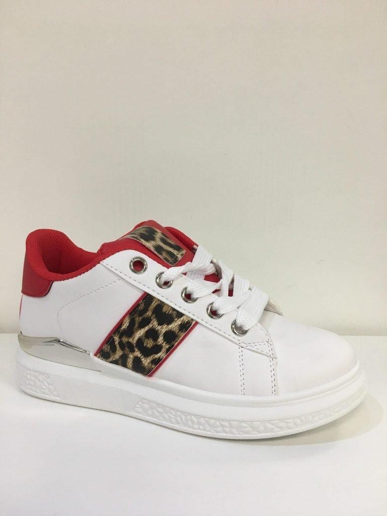 Sneaker wit/rood panterprint