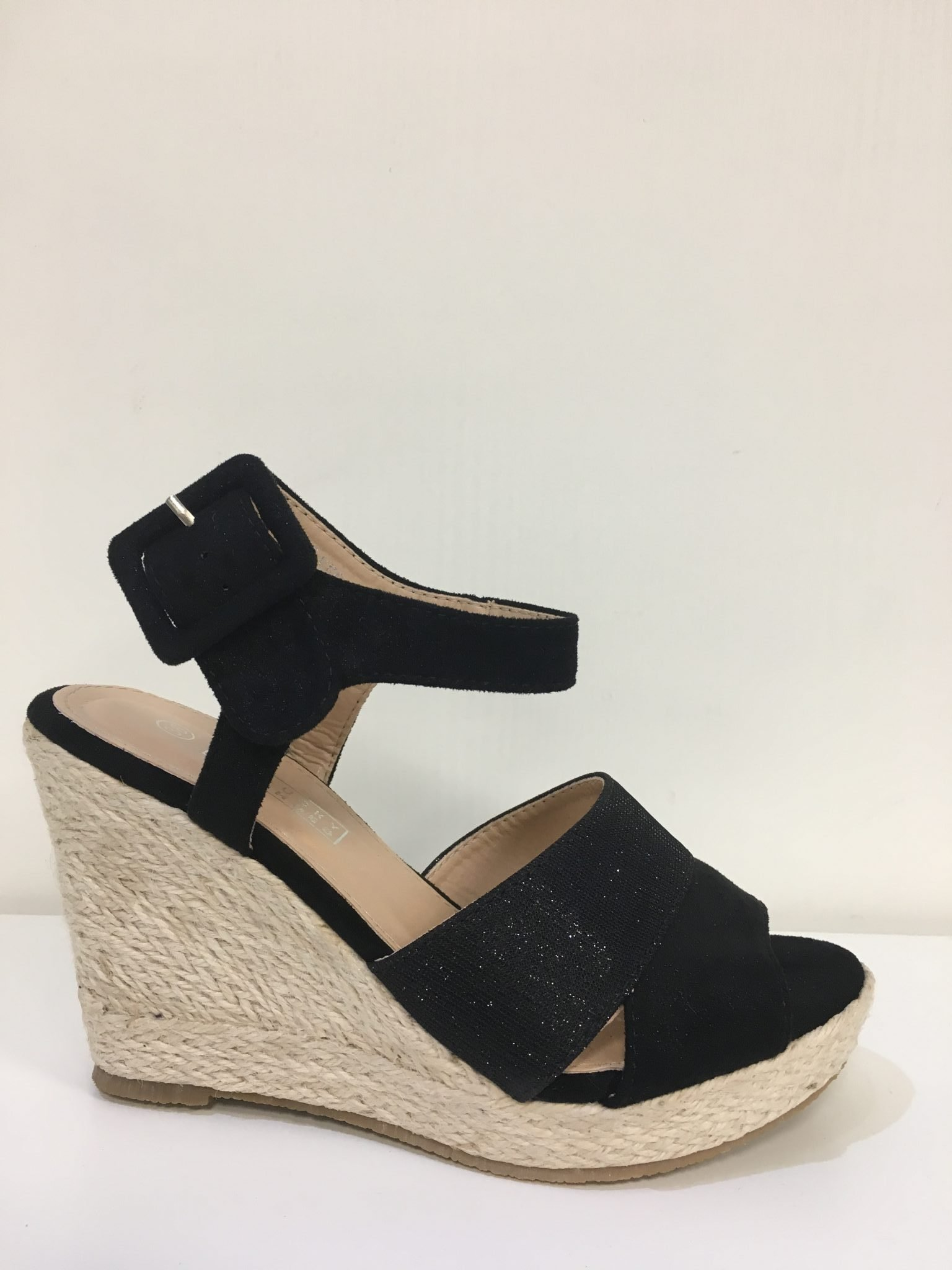 Zwarte open schoen gliter