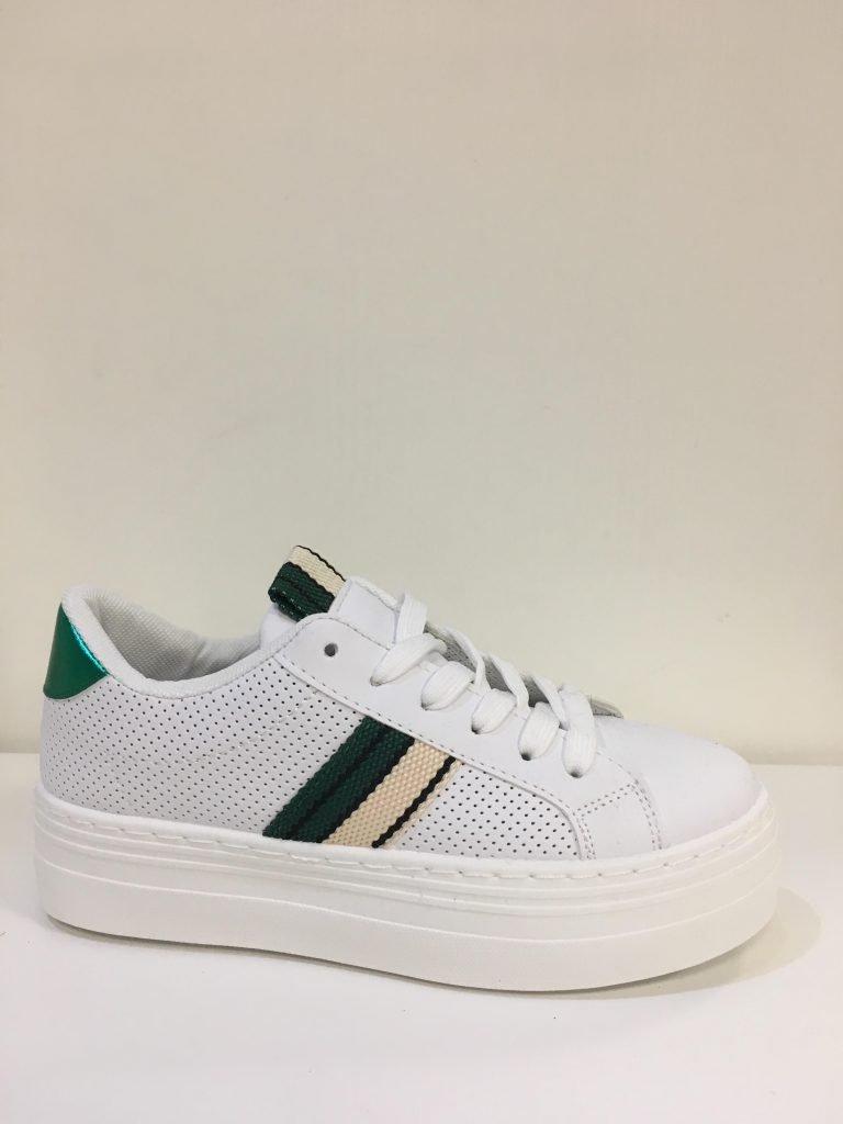 Witte sneaker groen/beige streep