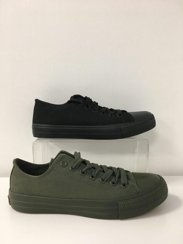 Mannensneaker stof zwart/khaki