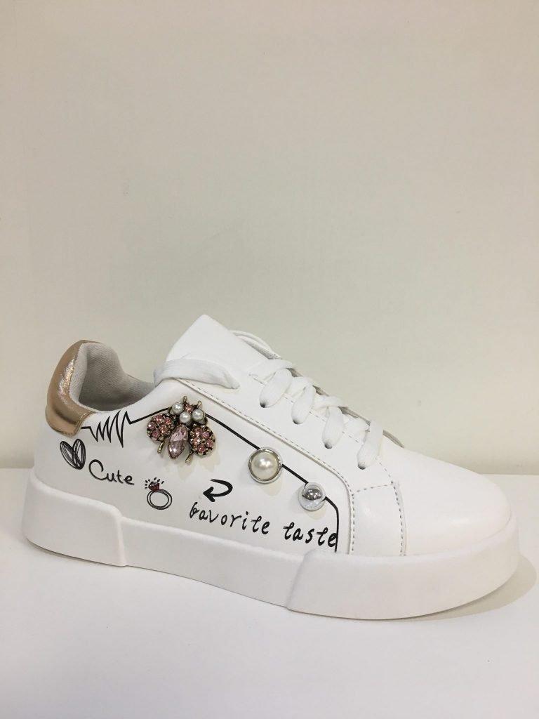Witte/champagne sneaker cute