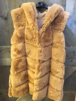 Teddy body pels met kap beige