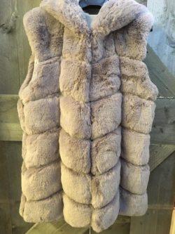 Teddy body pels met kap grijs