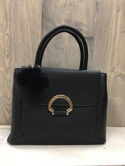 Zwart handtasje pompon