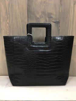 Handtas zwart croco print