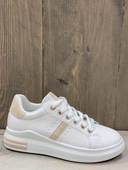 Sneaker wit/nude