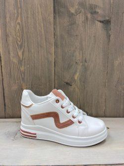 Witte sneaker roze kronkel