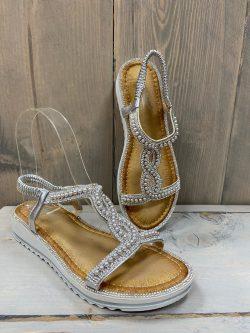 Sandaaltje parel grijs/zilver