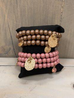Armbandjes Tina (per 3) bruin/roze