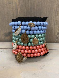 Armbandjes Tina schelp (per 3) blauw/groen/roze