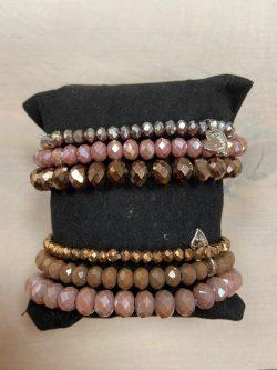 Armbandjes Roze-Bruin (per 3)
